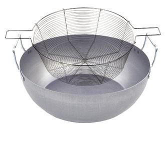Pentola per friggere 30 cm con cestello in acciaio stagnato