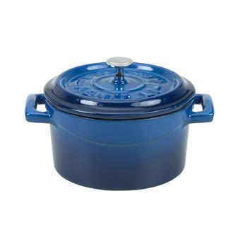 Piccola cocotte in ghisa color blu. Diametro 14 cm.