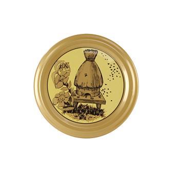 Capsule (tappi) twist-off per miele. Decorazione alveare-paglia. Diam.63 mm. (10 pz.)