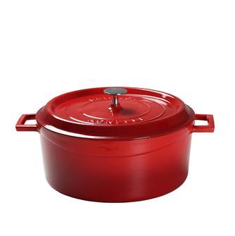 Cocotte rotonda color rosso. Diam. 32 cm.