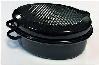 Rostiera cocotte ovale media 38 cm acciaio al carbone smaltato