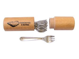 Astuccio con 6 forchette per ostriche
