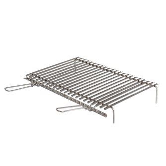 Griglia inox per barbecue con recuperatore di grassi 60x40 cm