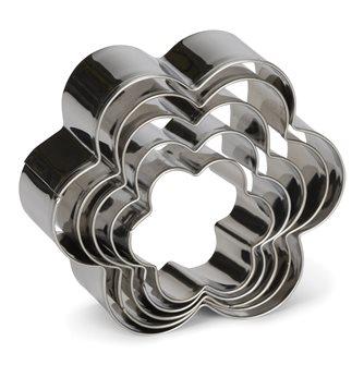 5 stampini a forma di fiore in acciaio inox