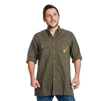 Camicia uomo kaki ricamo cervo Bartavel Hunter XXL