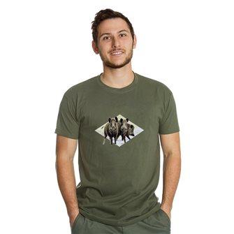 T-shirt uomo kaki Bartavel Nature stampa 3 cinghiali L