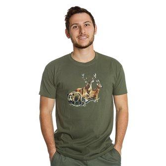 T-shirt uomo kaki Bartavel Nature stampa 1 cinghiale, 1 cervo, 1 capriolo L