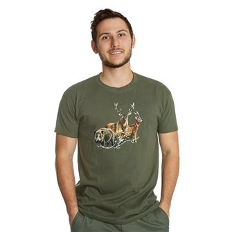 T-shirt uomo kaki Bartavel Nature stampa 1 cinghiale, 1 cervo, 1 capriolo XXL