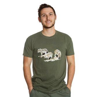T-shirt uomo kaki Bartavel Nature stampa con 3 cinghialetti L