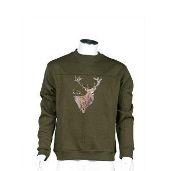 Felpa uomo kaki Bartavel Nature ricamo testa cervo M