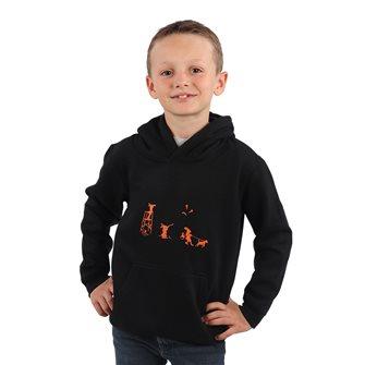 Felpa nera con cappuccio bambino 6 anni Bartavel umoristica