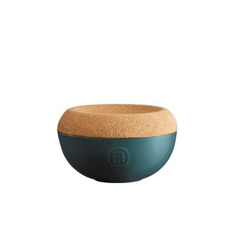 Saliera ceramica color blu coperchio sughero Emile Henry