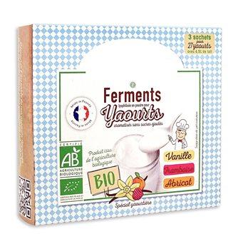 Ferments lyophilisés bio pour yaourts maison 3 parfums vanille framboise abricot