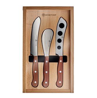 Cofanetto 3 coltelli da formaggio e salumi Wusthof manici in legno rivettato