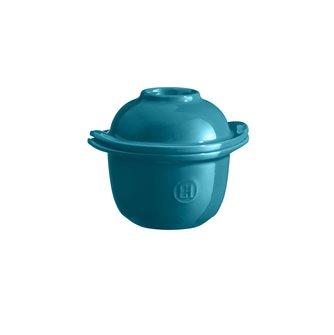 Mini-cocotte et coquetier pour la cuisson de l´oeuf et le service avec accompagnement e céramique bleu Calanque Emile Henry